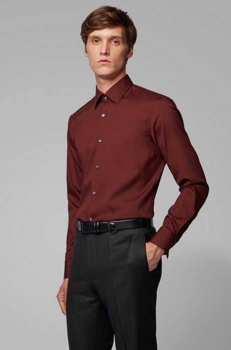 Slim-fit overhemd van premium popeline met kentkraag, Donkerrood