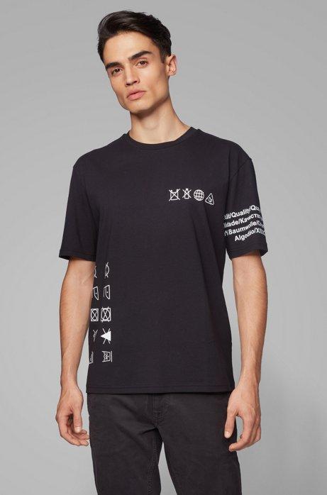 T-shirt Relaxed Fit en pur coton, sans plastique, Noir