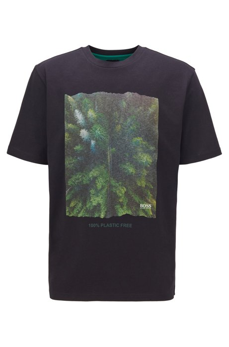 Plastic-free relaxed-fit T-shirt with graphic print, Black