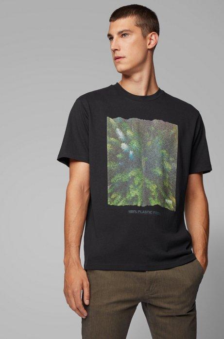 T-shirt Relaxed Fit à imprimé graphique, conçu sans plastique, Noir