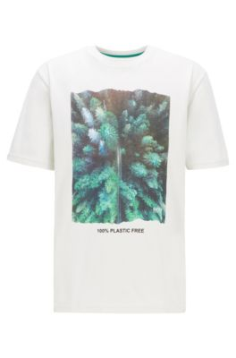 Plastic-free relaxed-fit T-shirt with graphic print, Natural