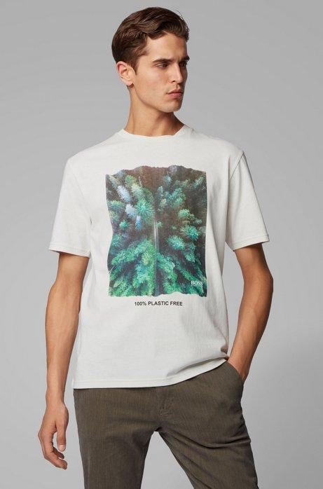 Plasticvrij, relaxed-fit T-shirt met grafische print, Naturel