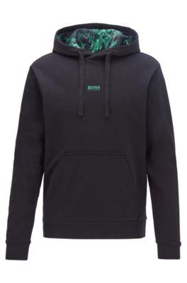 Plastikfreies Sweatshirt aus French Terry mit bedrucktem Kapuzen-Innenfutter, Schwarz