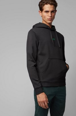 Relaxed-fit plastic-free sweatshirt with feature hood lining, Black