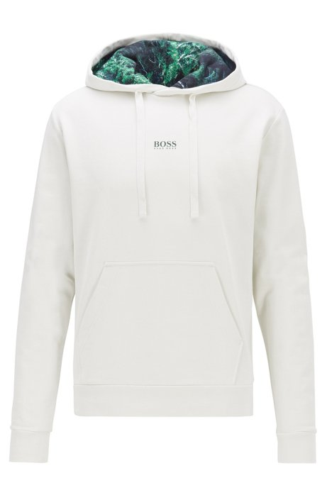 Relaxed-fit plastic-free sweatshirt with feature hood lining, Natural