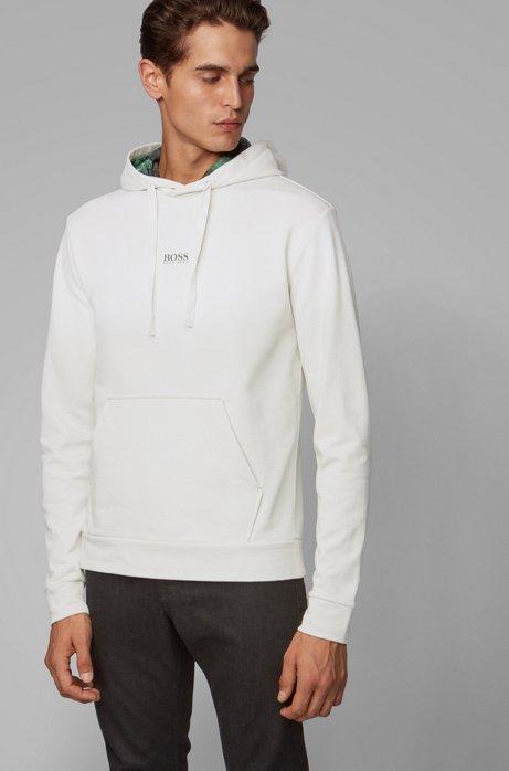 Plastikfreies Sweatshirt aus French Terry mit bedrucktem Kapuzen-Innenfutter, Weiß