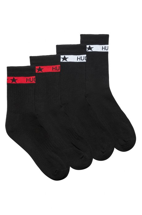 Two-pack of short socks with logo bands, Black