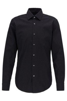 Slim-Fit Hemd aus italienischer Baumwolle mit Flockdruck, Schwarz