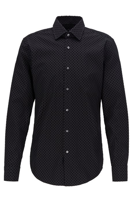 Camisa slim fit en algodón italiano con flocado estampado, Negro