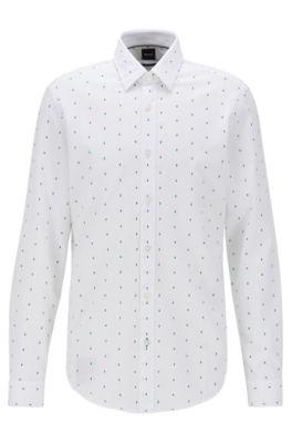 Regular-Fit Hemd mit exklusivem geometrischem Print, Weiß