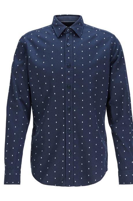 Regular-fit shirt with exclusive geometric print, Dark Blue