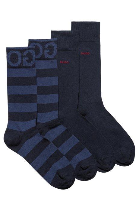Lot de deux paires de chaussettes mi-hautes en tissu peigné, Bleu foncé