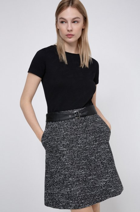 Regular-fit skirt with faux-leather belt detail, Black