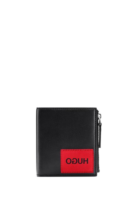 Boxed wallet with reverse-logo patch, Black