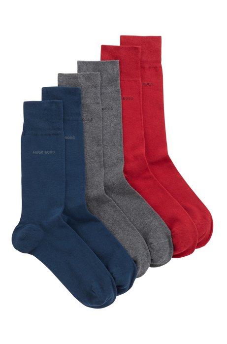 Dreier-Pack mittelhohe Socken aus elastischem Baumwoll-Mix, Grau