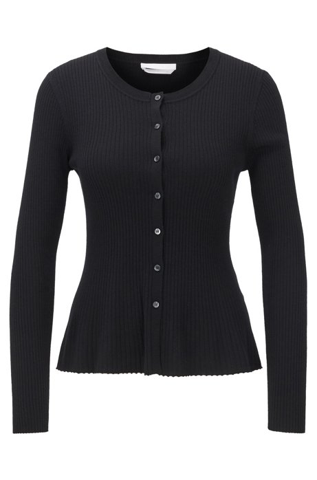 Cardigan slim fit in misto lana merino a coste, Nero