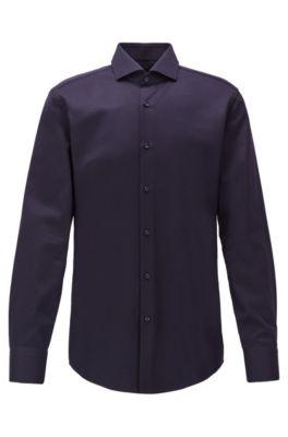 Camicia slim fit in cotone italiano microstrutturato, Blu scuro