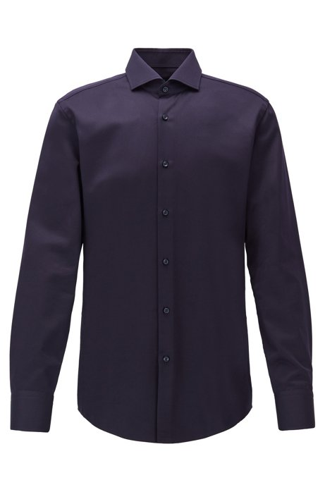 Slim-fit shirt in micro-structured Italian cotton, Dark Blue