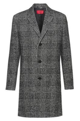 Slim-fit mantel van een geruite wolmix, Bedrukt