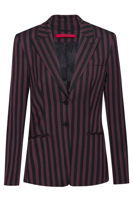 Slim-fit jacket in striped stretch fabric, Patterned