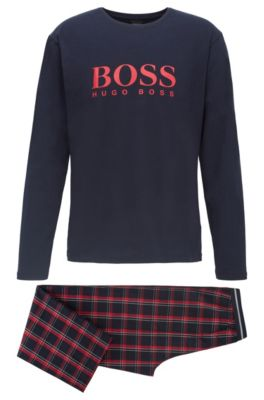 Pyjama aus reiner Baumwolle mit Logo-Beutel, Rot