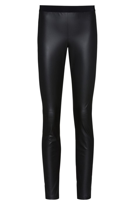 Pantaloni skinny fit in similpelle con zip invisibile, Nero