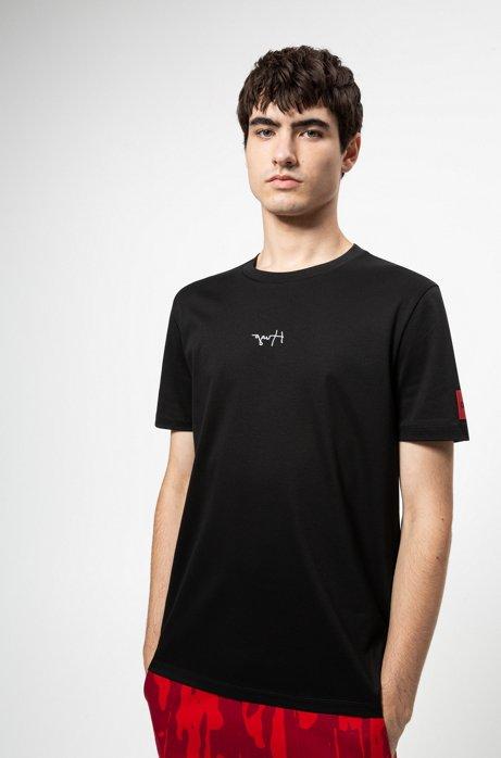 Regular-fit T-shirt van katoen met gespiegelde logo's, Zwart