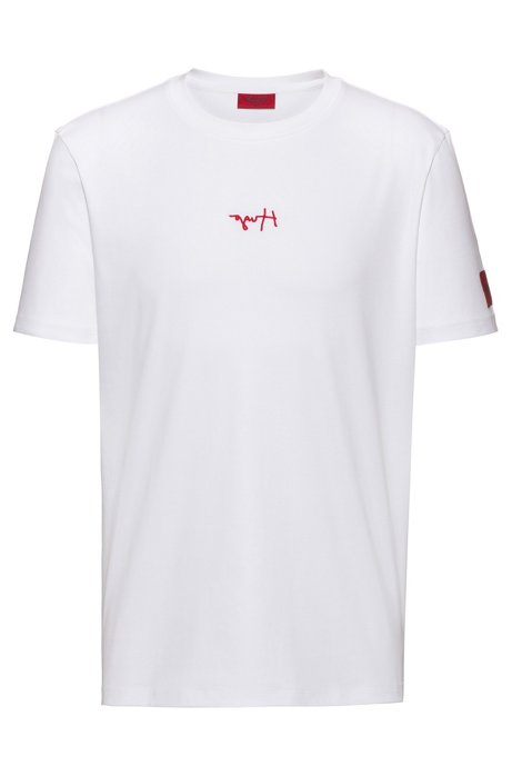 Regular-fit T-shirt in cotton with reversed logos, White