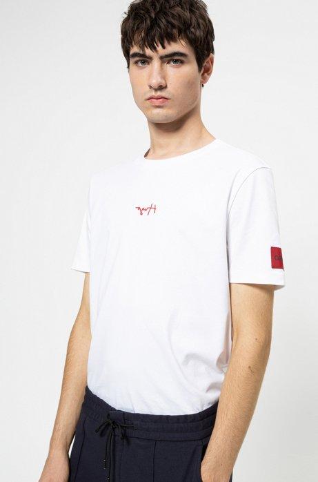 T-Shirt aus Baumwolle mit spiegelverkehrten Logos, Weiß