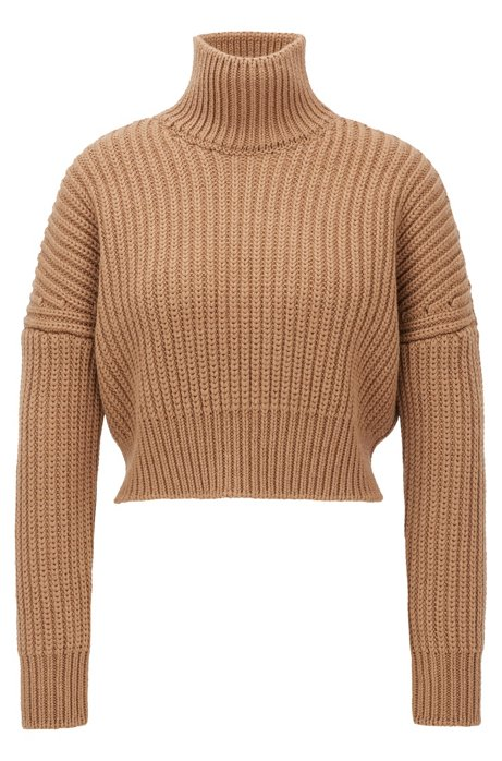 Cropped structured-knit sweater in wool with high neckline, Light Brown