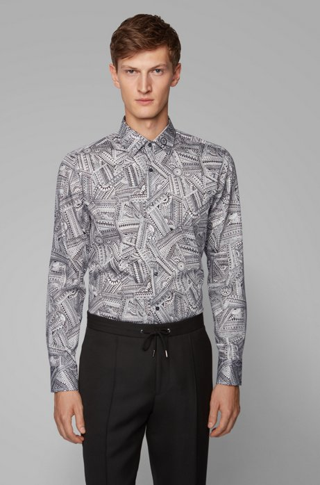 Slim-fit shirt in satin with collection print, White