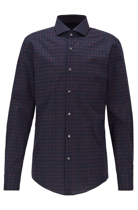 Slim-fit shirt in printed Italian stretch cotton, Dark Blue