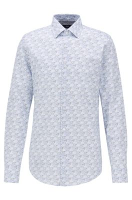 Slim-fit overhemd van Italiaans satijn met collectieprint, Lichtblauw