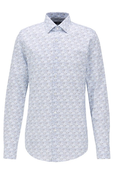 Slim-fit shirt in Italian satin with collection print, Light Blue