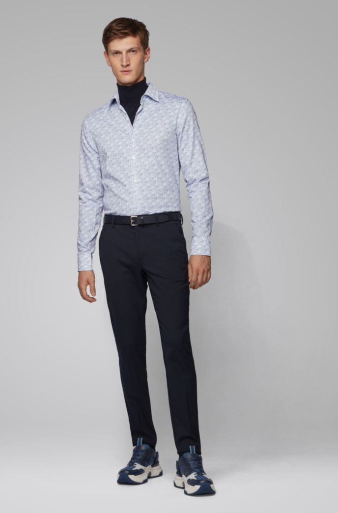 Chemise Slim Fit en satin italien à imprimé de la collection