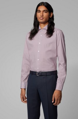 Camisa slim fit en popelín de algodón italiano con estampado geométrico, Rojo