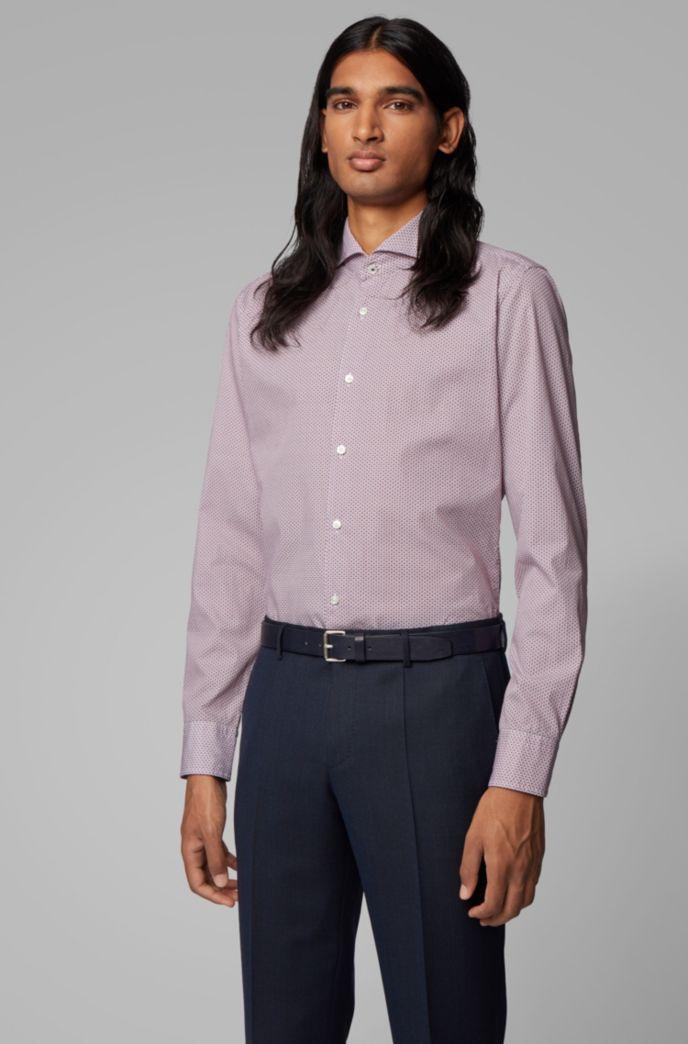 Camisa slim fit en popelín de algodón italiano con estampado geométrico