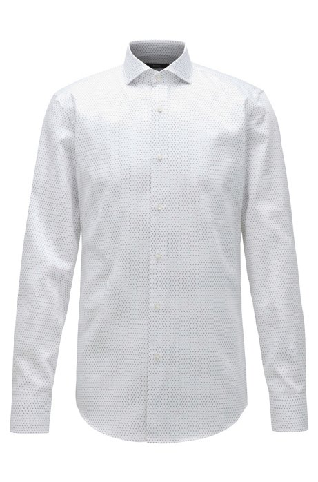 Camicia slim fit in satin di cotone con logo stampato all-over, Bianco
