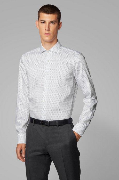 Slim-Fit Hemd ausBaumwoll-Satin mit Logo-Print, Weiß