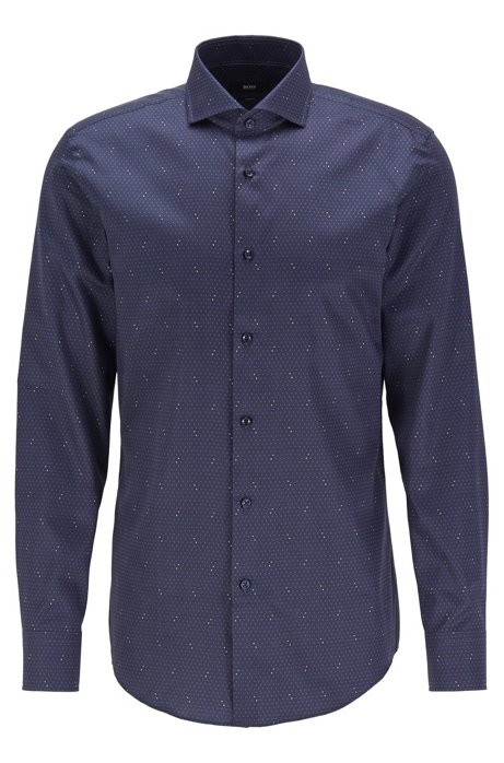 Slim-fit shirt in cotton satin with all-over logo print, Dark Blue