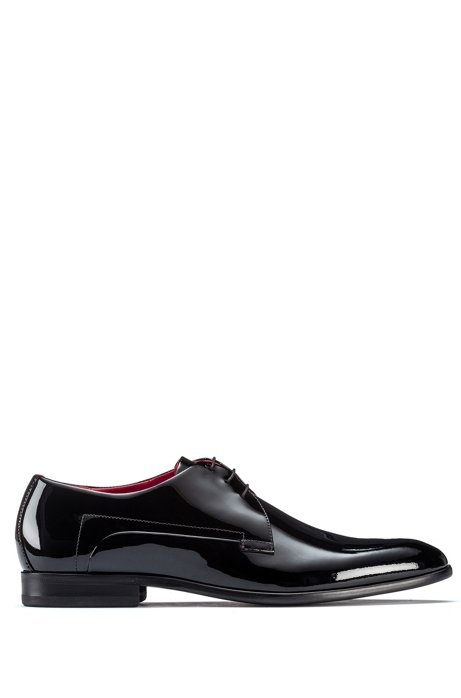 Derby shoes in patent leather, Black