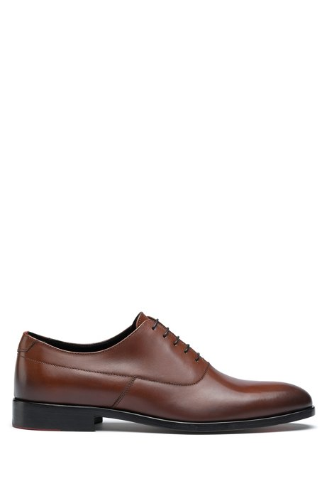 Portuguese-made Oxford shoes in polished leather, Brown