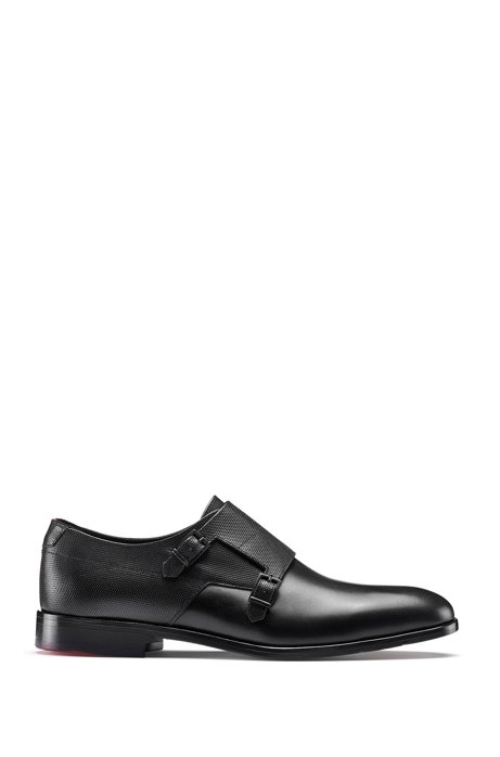 Double-monk shoes in smooth and embossed leather, Black