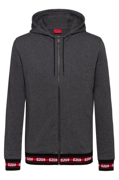 Zip-through hoodie in French terry with logo trims, Dark Grey