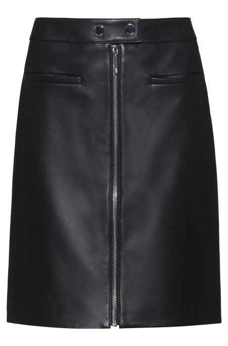 A-line leather skirt with centre-front zip , Black