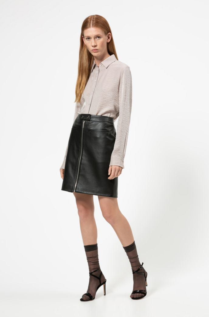 A-line leather skirt with centre-front zip