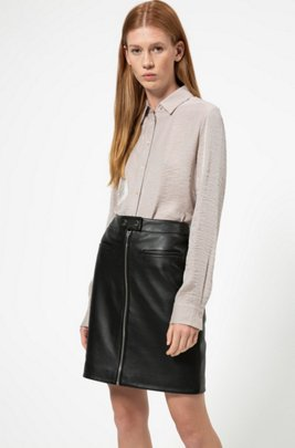A-line leather skirt with centre-front zip , ブラック