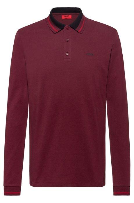 Regular-fit polo shirt in cotton piqué, Dark Red