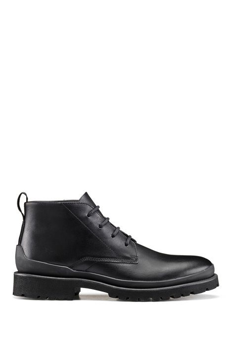 Leather desert boots with lug EVA sole, Black