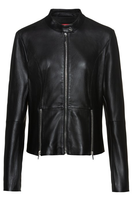 Regular-fit  jacket in lamb leather with feature zips, Black